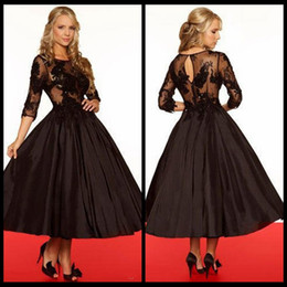 Wholesale Taffeta Jewel Tea - Sexy Elegant Evening Dresses A-Line Black Sheer Bodice 3 4 Sleeves Illusion Back Lace Tea Length Prom Party Gown Vestidos de Festa