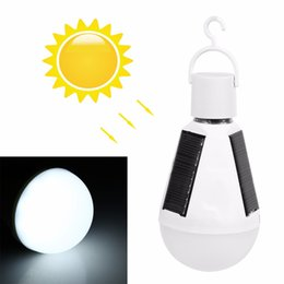 Wholesale e27 panel - 7W E27 Hanging Solar Energy Rechargeable Emergency LED Bulb Light Daylight IP65 Waterproof Solar Panels Powered Night Lamp