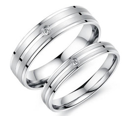 Wholesale Free Promise Rings - Free Shipping Titanium AAA CZ Wedding Bands Couple Rings Korean Jewelry Lovers, his and hers promise ring sets For men and women