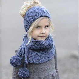 Wholesale Crocheted Baby Shawls - Hat and Scarf Set Winter Wool Knitted Handmade Hat Baby Girls Shawls Hooded Cowl Beanie Caps Suit for New Year Set Accessories