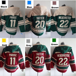 Wholesale Hockey Hooded Sweatshirts - Factory Outlet, Minnesota Wild 11 Zach Parise 20 Ryan Suter 22 Nino Niederreiter Jersey old time hockey Hooded Sweatshirt Double stiched S-3