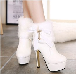 Wholesale Women Boots Rabbit Fur - Exquisite Women Warm Winter Genuine Rabbit Fur Boot Pretty High Heeled Shoes Fashionable Winter Boot With Beautiful Lace Bow