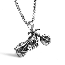 Wholesale Motorcycle Chain Necklace - Find Me 2017 new fashion vintage Stainless steel long chain necklace for men motorcycle silver Pendant necklace statement jewelry wholesale