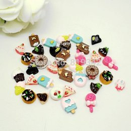 Wholesale Nails Art Ice Cream - Wholesale-Free Shipping 100pcs lot Mix Styles Nail Art Resin 3D Cookies, Ice cream, Chocolate Tips Stickers Decorations beauty