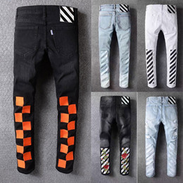 Wholesale Modern Jeans - 2018 New fashion men jeans top quality version famous brand design mens ripped jeans cool street biker jean man