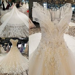 Wholesale Low Price Long Skirts - LS00302 flower pattern beaded short wedding dresses low price long train made in vietnam wedding dresses