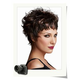 Wholesale Synthetic Hair Trade - European and American export trade short Brown Mixed wig short hair synthetic wig provide customized