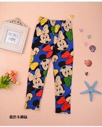 Wholesale Girls Cotton Stretch Pants - Kids Cartoon Mickey Printed Trousers Leggings Girl Spring Autumn Stretch Pants 5Colors 8p l free shipping