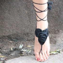 Wholesale Crochet Steampunk - 5 Colors Black Anklet Crochet Barefoot Sandals Steampunk Victorian Lace Foot jewelry For Women Girls Free Shipping