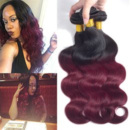 Wholesale Red Hair Wefts - Two Tone Ombre Peruvian Virgin Human Hair Extensions Wefts Body Wave Bundles 1B99J Burgundy Wine Red Peruvian Hair Weaves 100g pcs 10-26Inch