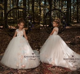 Wholesale Red Pageant Dress Little Girls - 2018 Ivory Cute 3D Butterfly Floral Appliques Flower Girls Dresses Cap Sleeves A Line Tulle Long Little Girls Pageant Dresses Formal Wears