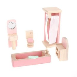 Wholesale Wholesale Miniature Wood House - Wholesale- DIY Wooden Miniature Furniture Set Doll House Kids Toy Gift Bathroom