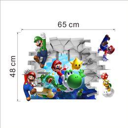 Wholesale Mario Bros Decals - New 3D Super Mario Bros Cartoon Vinyl Wall Stickers for Kids Rooms DIY Wallpaper Art Decals Home Decor
