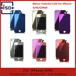 Wholesale Mirror Lcd Touch Screen - Wholesale-Mirror Colorful LCD Display & Touch Screen Digitizer & Home Button & Back Cover Mix Color For iPhone 4G CDMA 4S Free