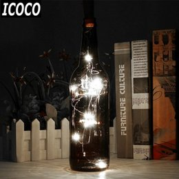Wholesale Glass Bottle Garden - Wholesale- ICOCO 1pcs 1m Glass Wine Cork Shaped Bottle Stopper LED Copper Wire Fairy String Light Garden Holiday Christmas Party Decoration