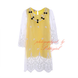 Wholesale Lace Necklace Child - Cute Yellow Girls Dresses Fashion Lace with Pearl Necklace Kids Long Sleeve Dress Spring & Autumn Child Clothes GD40420-31