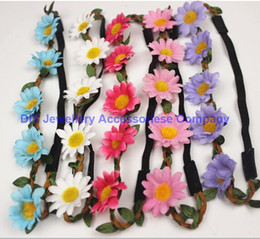 Wholesale Leather Braided Headband Elastic - Free shipping Bohemian Headband for Women three Flowers Braided Leather Elastic Headwrap sunflower hair band Assorted Colors Hair Ornaments