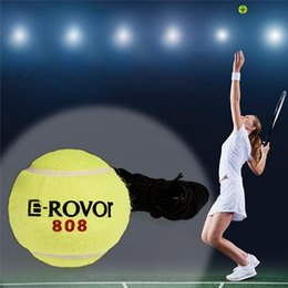 Wholesale Tennis Balls Elastic - Wholesale- Professional Soft Rubber Tennis Balls with Elastic String Yellow Exercise Training Trainer Ball Practice Wholesale