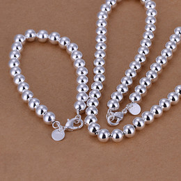 Wholesale 8mm Silver Necklace - High grade 925 sterling silver '8MM beads piece - hollow jewelry set DFMSS081 brand new Factory direct 925 silver necklace bracelet