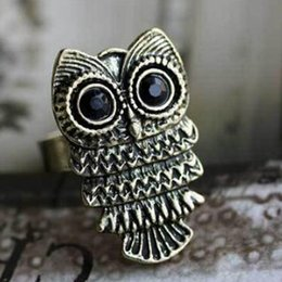 Wholesale Bronze Owl Ring - New Design Retro lovely Owl Head Stretch Adjustable Fashion Ring 2 color Vintage Bronze Silvery Cute Big Eyes Owl Adjustable Ring