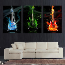 Wholesale Picture Guitars - 3 Piece Abstract the Flame Guitar HD Wall Picture Home Decor Art Print Painting On Canvas For Living Room Unframed Free Shipping