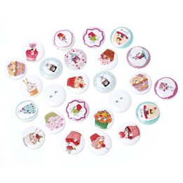 trous de bois Promotion Bouton de couture en bois Scrapbooking Round Mixed 2 trous Cake Pattern 15.0mm (5/8