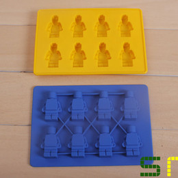 Wholesale Mini Chocolate Cakes - Lego Shaped Silicon Ice Cube Tray Mini Robot Figure Silicone Chocolate Cake Mold Tray Blue Yellow Color Free shipping