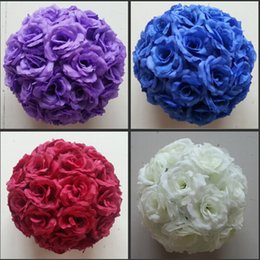 Wholesale Artificial Flower Ball Orange - 16 Colors 15 CM to 50cm Available Upscale Artificial Silk Flower Ball Hanging Rose Kissing Balls For Wedding Party Decoration Supplies
