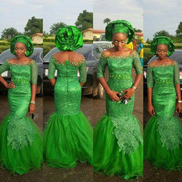 Wholesale Off Shoulder Dress Mermaid Style - 2016 New Green Aso Ebi Style Formal Evening Party Prom Dress Special Occasion Gowns Off Shoulder Illusion Half Long Sleeves Appliques Tulle