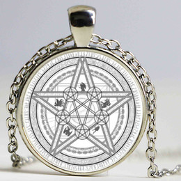Wholesale white witch - Magic Circle Space Moon Star Ouija Wicca Gypsy Pentagram Witch Steampunk Pendant Necklace Silver Bronze Chain Hexagon Necklace