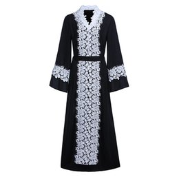 Wholesale White Lace Cardigan Dress - Black and white classic lace stitching chiffon dress Muslim cardigan gown black abaya spot free shipping