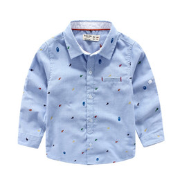 Wholesale Gentle Blue - Gentle 2016 Spring summer Korea kids clothing England print shirts for wedding boy long sleeve t shirt kids clothing wholesale