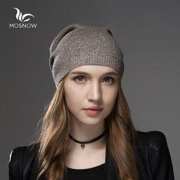 оптовая кашемировая шапочка Скидка Оптовая продажа-Mosnow Hat женские шерстяные кашемировые зимние шапки для женщин шапочки высокое качество теплый женский бренд повседневная трикотажные Vogue Skullies Cap