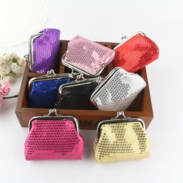Wholesale Korean Sequin Dresses - NEW fashion womens mini coin wallet kids change purse Sequins candy-colored shiny coin purse bag gift 12pcs lot 1933