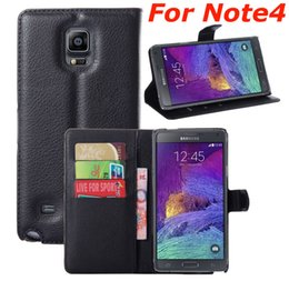 Wholesale Galaxy Note Book Cover - Wallet Flip Book Style PU Leather Stand Case Cover Litchi Patten With Card Slots For Samsung Galaxy Note 4 Note4 N9100