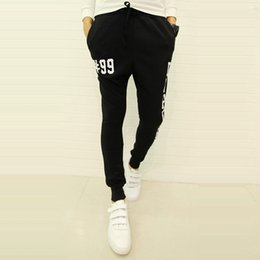 Wholesale cheap designer pants men - Wholesale-2015 Fashion Letter Print Designer Harem Pants Men Hip Hop Pants Stylish Cheap Mens Joggers Sport Running Sweatpants Black Grey
