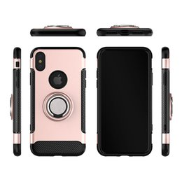 Wholesale Wholesale Iphone Goophone - for goophone iphone x 8 plus case 360 rotating ring stick stand phone case for iphone 7 6 plus fiber tpu pc caus