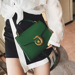 Wholesale Horse Clutch - Brand new women leather bags Plain Shoulder bags with Alloy sea horse Small Phone Handbags Party Clutch Totes Cross body Bags