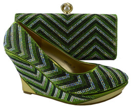 Wholesale Green Shoes Matching Bag - Nice looking pumps and bags series African shoes match handbag sets with stone for party 1308-L58 lemon green,heel 10.3cm
