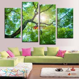 Canada Vente chaude Toile Mur Art Vert Arbre Peinture Décoration de La Maison Photo Sur Le Mur Impression Sur Toile Moderne Peinture Grand Mur Décor Pas Cher cheap green photo paint Offre