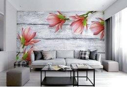 Wholesale Rooms Painted Gray - 3d murals wallpaper for living room Elegant gray wood grain magnolia flower mural painting photos