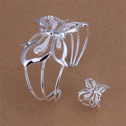 Wholesale Crystal Butterfly Bangle Bracelet - Lowest Retail Price High Quality 925 Silver Woman's girl Jewelry Set Open Style Butterfly Bangle Rings Fashion Free Shipping