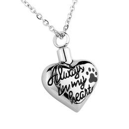 """Wholesale Pet Cremation Jewelry - Cremation Jewelry """"Always in my heart"""" Puppy Dog Paw Pet Memorial Urn Pendant Necklace with gift bag&chain"""