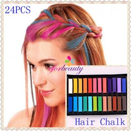 Wholesale Temporary Hair Color Pastels - 24 Hot Color Hair Chalk Temporary Hair Dye Colour Salon Kit Soft Pastels Non Toxic 1set