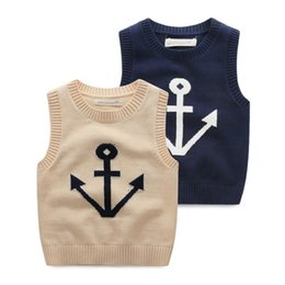 Wholesale Spring Sweater Vest For Boys - Wholesale-Boys knitted vest vest, new sweatshirts for children, cartoon baby sweater