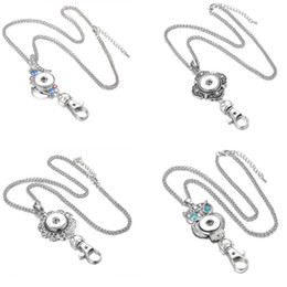 Wholesale Lanyard Necklace Jewelry - Chunks Vintage Crystal Keyrings Snap Necklace Jewelry Noosa 18mm Snap Button Necklaces Button Keychains Lanyard Pendant Neck for Women