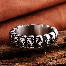 Wholesale Exaggerating Ring - High quality Men exaggerated retro punk skull ring stainless steel ring titanium steel jewelry manufacturers free shipping