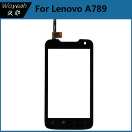 Wholesale Wholesale Lenovo A789 - Lenovo A789 Touch Screen Digitizer Panel With Connector Flex Cable For Lenovo Cell Phone Black Glass Lens Repair Part