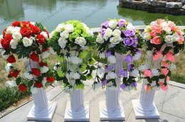 Wholesale Wholesale Columns For Weddings - Free Shipping Height 89cm (35 inch) Roman Road Lead Rome Plastic Column Style With Flower And Flower Pot For Wedding Mall Opened Props