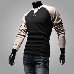 tommy hilfiger Desconto Wholesale-Free 2015 Fashion Brand Men's Clothing, Contraste-Color Design Beisebol manga comprida Tee, Sports Casual Men's O-neck Men's